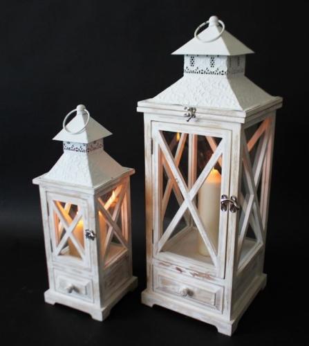 holzlaterne 2er set laterne holz wei metalldach t r schublade 61554 ebay. Black Bedroom Furniture Sets. Home Design Ideas