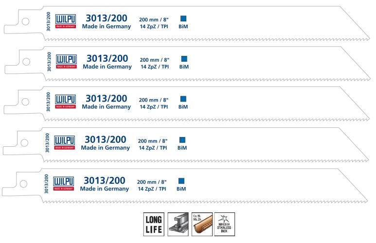 Säbelsägeblätter 5 Stück Bi-Metall 200 mm für Säbelsäge S1122BF Wilpu 3013//200